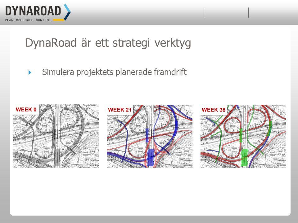  Simulera projektets planerade framdrift DynaRoad är ett strategi verktyg