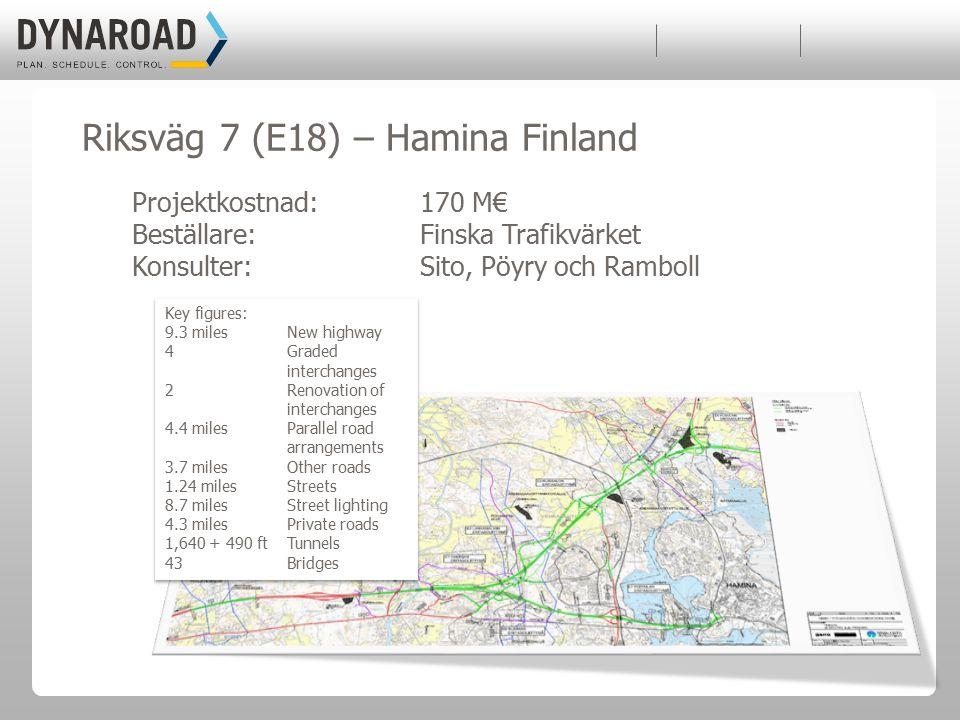 Projektkostnad: 170 M€ Beställare: Finska Trafikvärket Konsulter:Sito, Pöyry och Ramboll Key figures: 9.3 miles New highway 4 Graded interchanges 2 Re