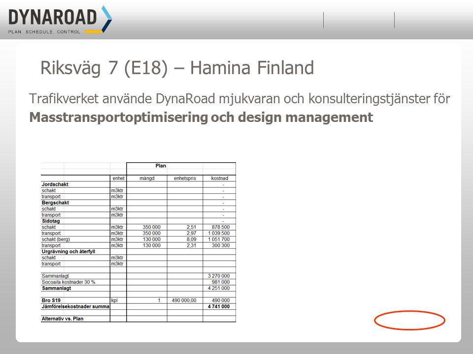 Trafikverket använde DynaRoad mjukvaran och konsulteringstjänster för Masstransportoptimisering och design management Riksväg 7 (E18) – Hamina Finland