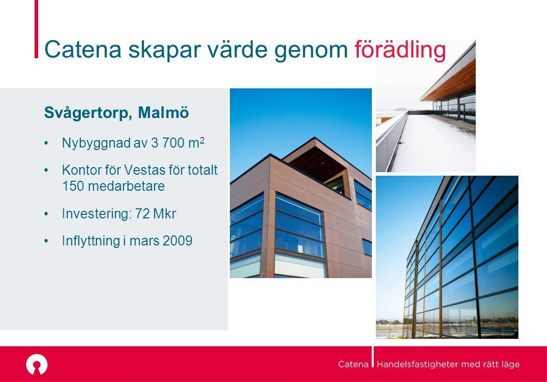 Catena skapar värde genom förädling Svågertorp, Malmö Nybyggnad av 3 700 m 2 Kontor för Vestas för totalt 150 medarbetare Investering: 72 Mkr Inflyttning i mars 2009