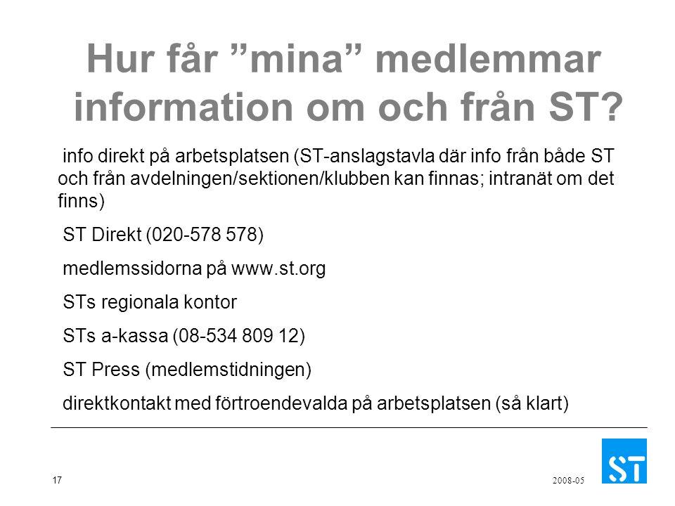 """17 2008-05 Hur får """"mina"""" medlemmar information om och från ST? info direkt på arbetsplatsen (ST-anslagstavla där info från både ST och från avdelning"""