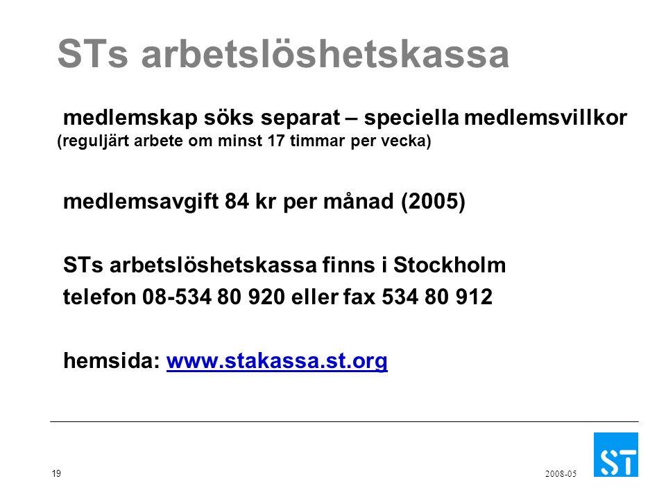 19 2008-05 STs arbetslöshetskassa medlemskap söks separat – speciella medlemsvillkor (reguljärt arbete om minst 17 timmar per vecka) medlemsavgift 84