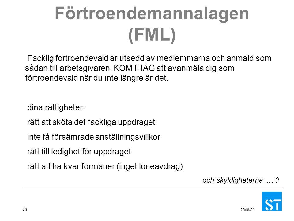 20 2008-05 Förtroendemannalagen (FML) Facklig förtroendevald är utsedd av medlemmarna och anmäld som sådan till arbetsgivaren. KOM IHÅG att avanmäla d