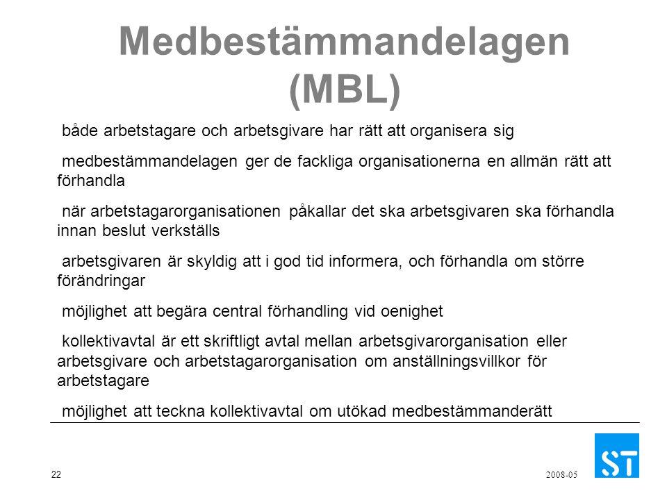22 2008-05 Medbestämmandelagen (MBL) både arbetstagare och arbetsgivare har rätt att organisera sig medbestämmandelagen ger de fackliga organisationer
