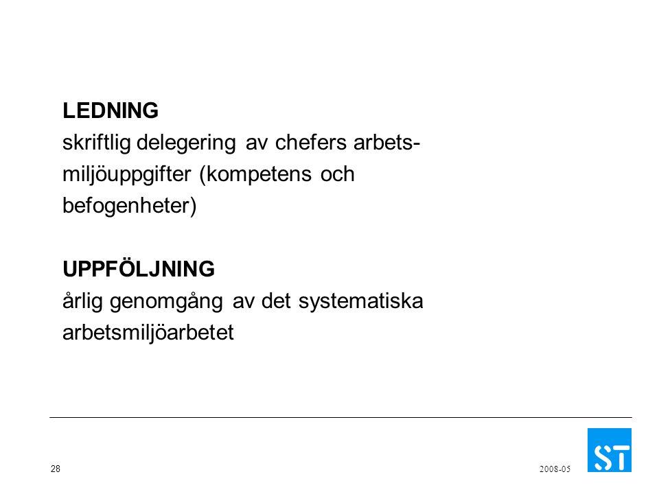 28 2008-05 LEDNING skriftlig delegering av chefers arbets- miljöuppgifter (kompetens och befogenheter) UPPFÖLJNING årlig genomgång av det systematiska