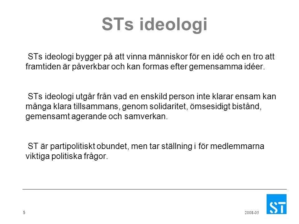 5 2008-05 STs ideologi STs ideologi bygger på att vinna människor för en idé och en tro att framtiden är påverkbar och kan formas efter gemensamma idé