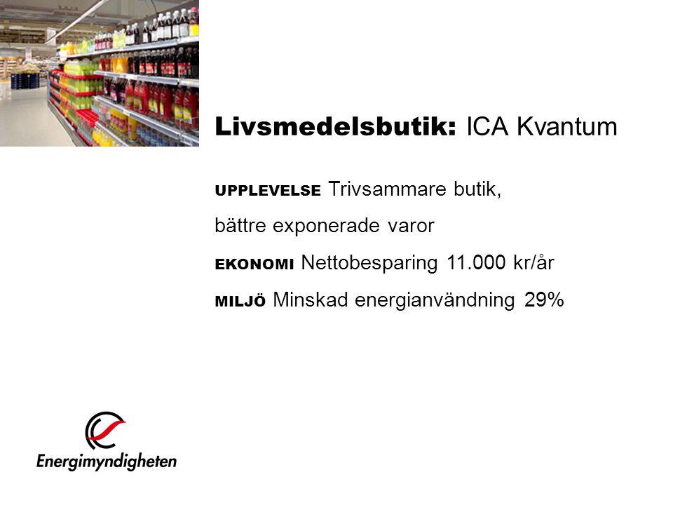 Livsmedelsbutik: ICA Kvantum UPPLEVELSE Trivsammare butik, bättre exponerade varor EKONOMI Nettobesparing 11.000 kr/år MILJÖ Minskad energianvändning 29%