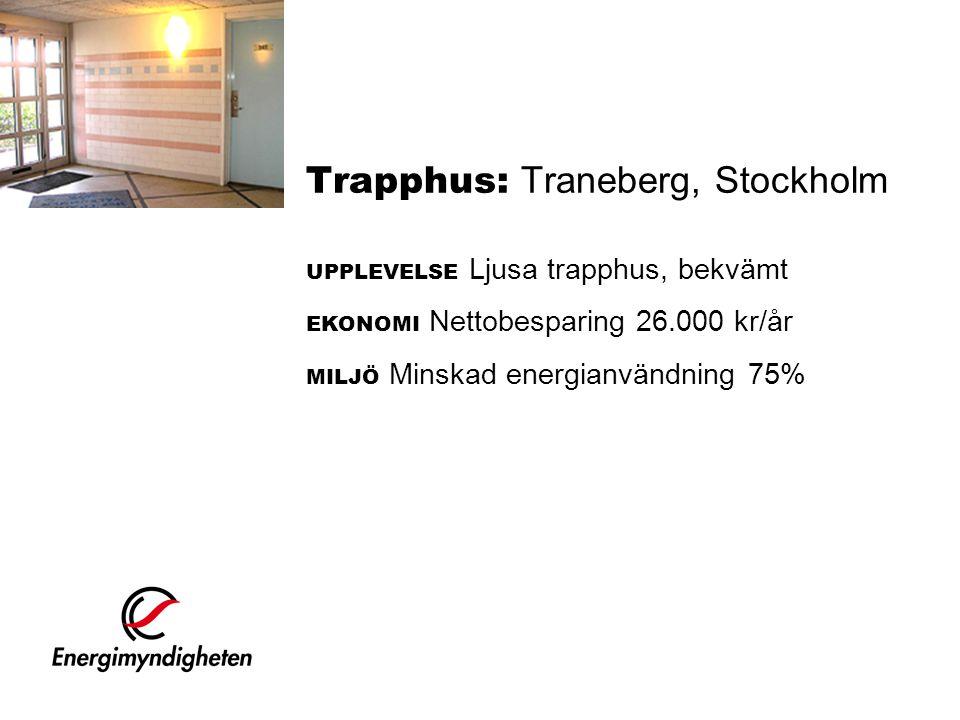 Trapphus: Traneberg, Stockholm UPPLEVELSE Ljusa trapphus, bekvämt EKONOMI Nettobesparing 26.000 kr/år MILJÖ Minskad energianvändning 75%
