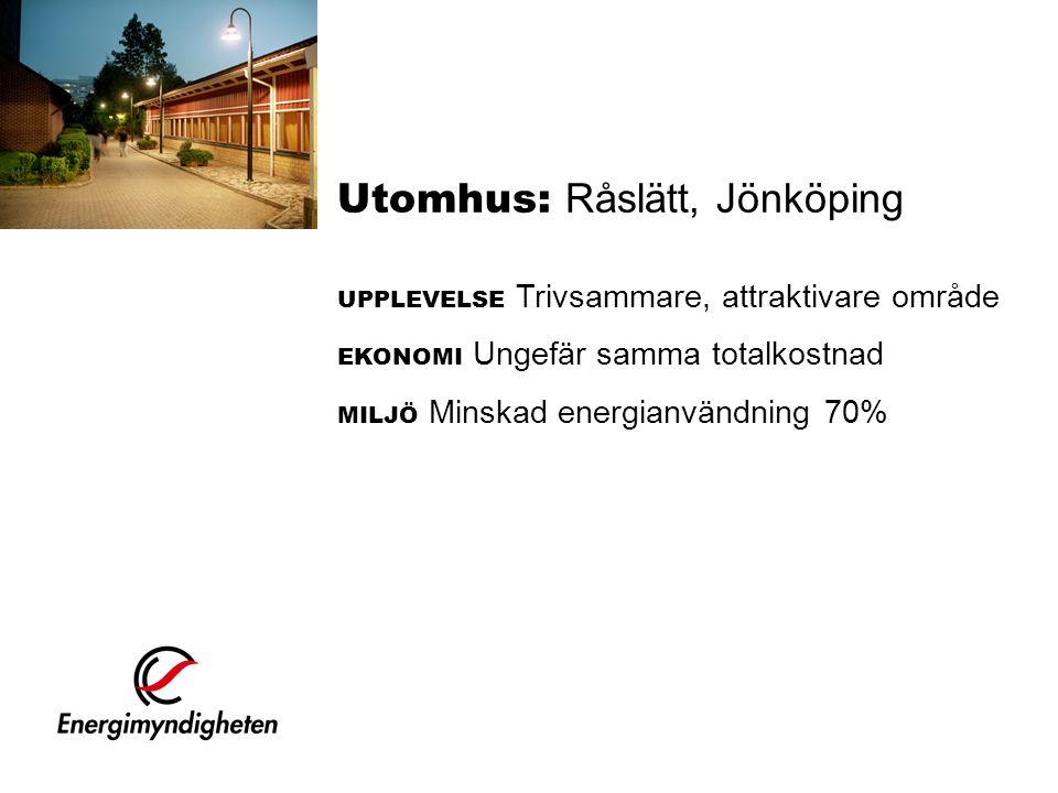 Utomhus: Råslätt, Jönköping UPPLEVELSE Trivsammare, attraktivare område EKONOMI Ungefär samma totalkostnad MILJÖ Minskad energianvändning 70%