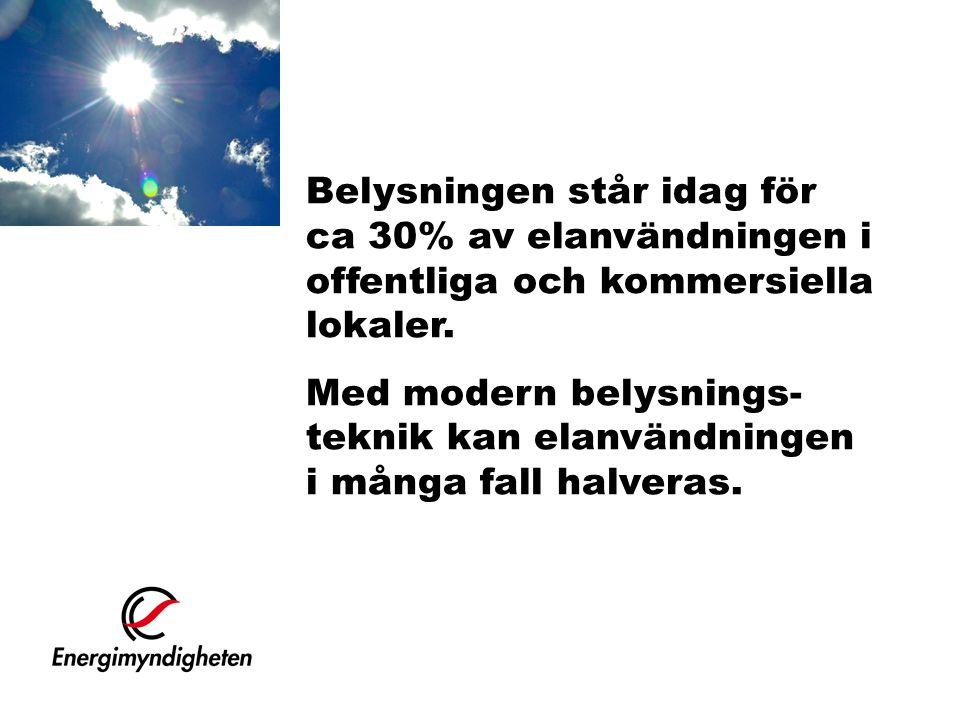 Belysningen står idag för ca 30% av elanvändningen i offentliga och kommersiella lokaler. Med modern belysnings- teknik kan elanvändningen i många fal
