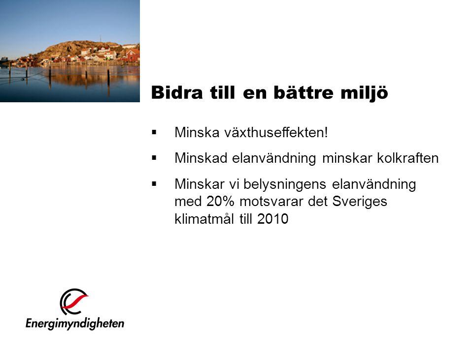  Minska växthuseffekten!  Minskad elanvändning minskar kolkraften  Minskar vi belysningens elanvändning med 20% motsvarar det Sveriges klimatmål ti