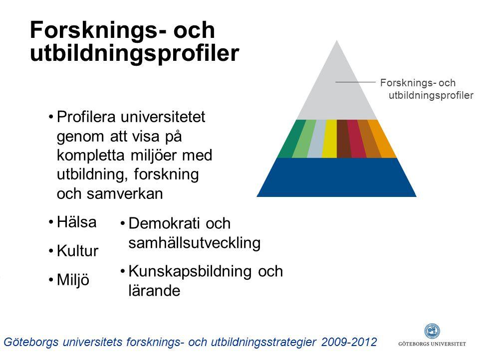 Forsknings- och utbildningsprofiler Göteborgs universitets forsknings- och utbildningsstrategier 2009-2012 Profilera universitetet genom att visa på kompletta miljöer med utbildning, forskning och samverkan Hälsa Kultur Miljö Demokrati och samhällsutveckling Kunskapsbildning och lärande