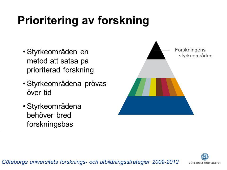 Prioritering av forskning Styrkeområden en metod att satsa på prioriterad forskning Styrkeområdena prövas över tid Styrkeområdena behöver bred forskningsbas Forskningens styrkeområden Göteborgs universitets forsknings- och utbildningsstrategier 2009-2012