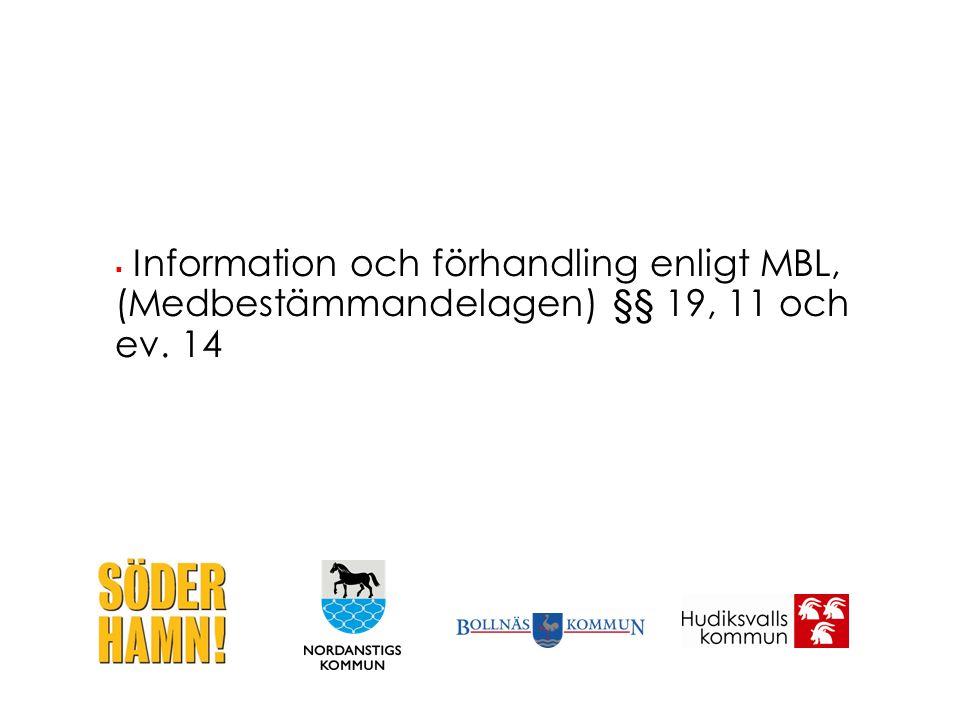  Information och förhandling enligt MBL, (Medbestämmandelagen) §§ 19, 11 och ev. 14