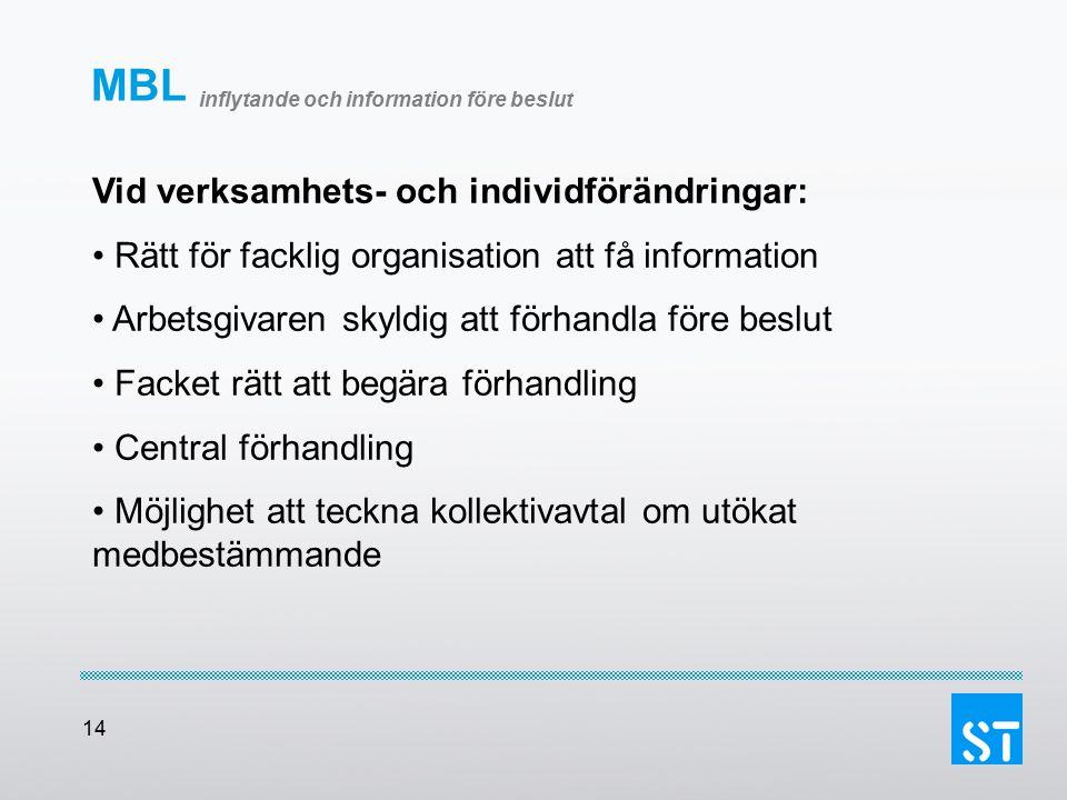 14 MBL inflytande och information före beslut Vid verksamhets- och individförändringar: Rätt för facklig organisation att få information Arbetsgivaren