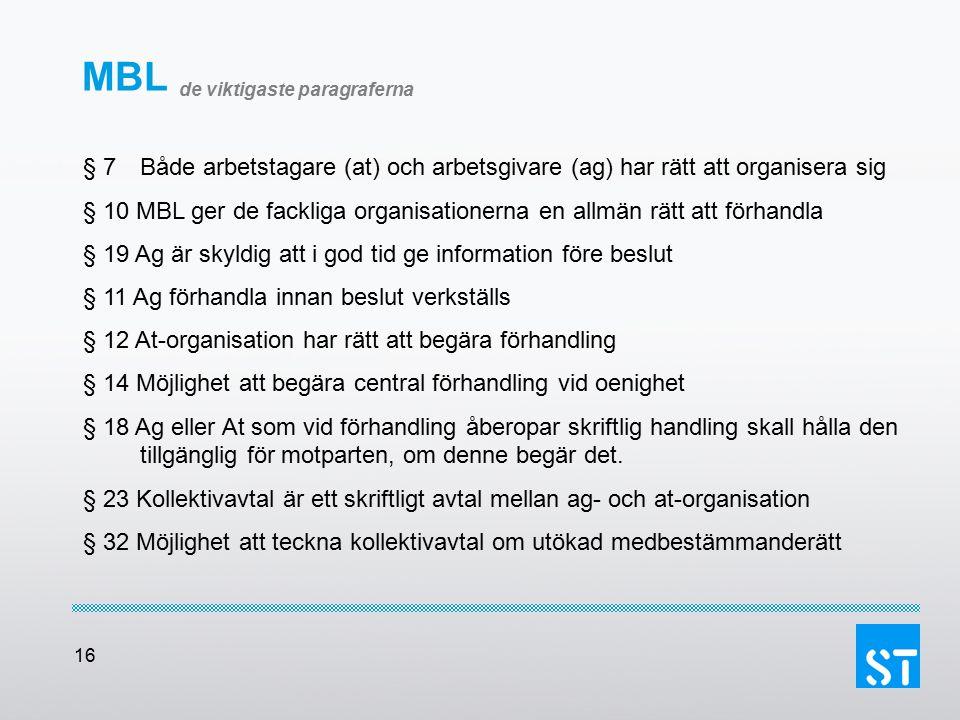 16 MBL de viktigaste paragraferna § 7 Både arbetstagare (at) och arbetsgivare (ag) har rätt att organisera sig § 10 MBL ger de fackliga organisationer