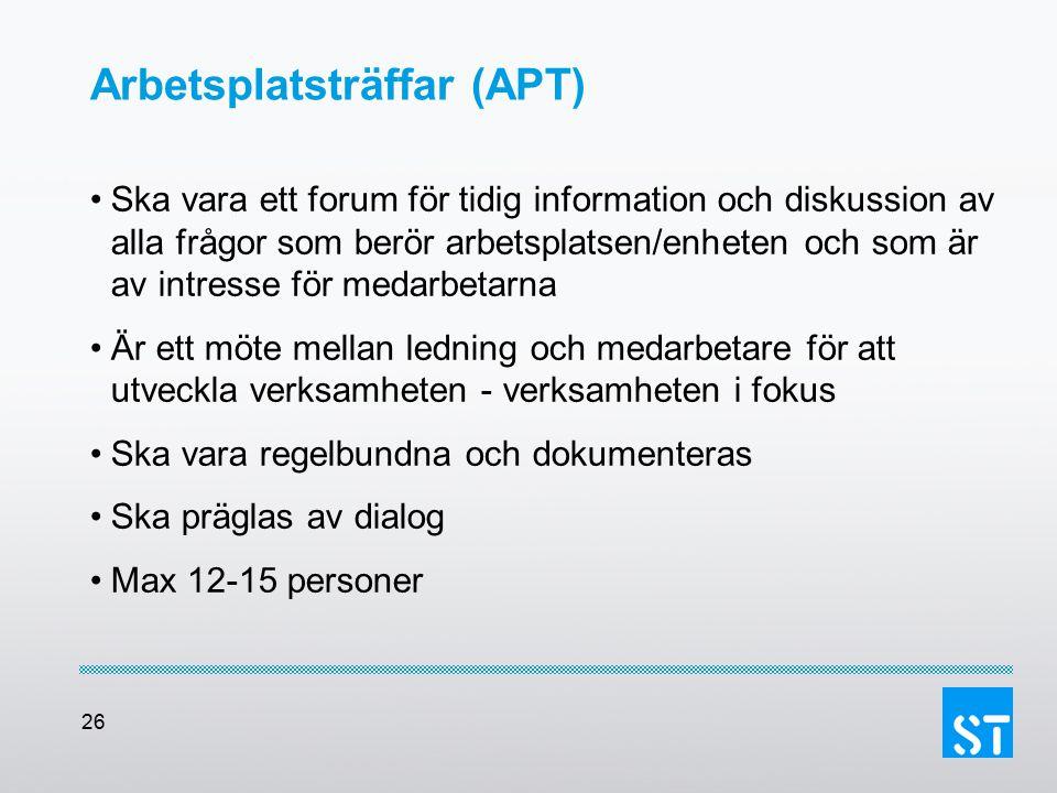 26 Arbetsplatsträffar (APT) Ska vara ett forum för tidig information och diskussion av alla frågor som berör arbetsplatsen/enheten och som är av intre