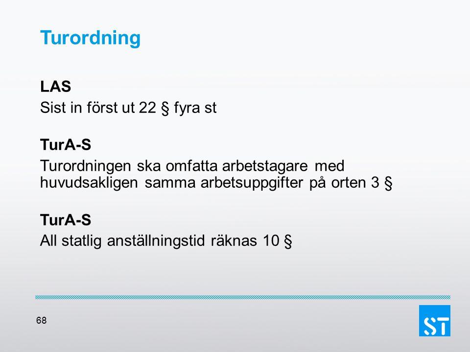 68 Turordning LAS Sist in först ut 22 § fyra st TurA-S Turordningen ska omfatta arbetstagare med huvudsakligen samma arbetsuppgifter på orten 3 § TurA
