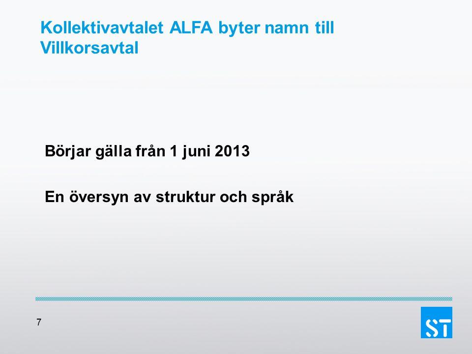 7 Kollektivavtalet ALFA byter namn till Villkorsavtal Börjar gälla från 1 juni 2013 En översyn av struktur och språk