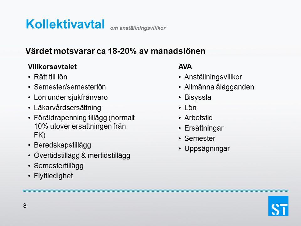 8 Kollektivavtal om anställningsvillkor Värdet motsvarar ca 18-20% av månadslönen Villkorsavtalet Rätt till lön Semester/semesterlön Lön under sjukfrå