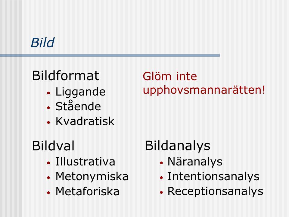 Bild Bildformat Liggande Stående Kvadratisk Bildval Illustrativa Metonymiska Metaforiska Bildanalys Näranalys Intentionsanalys Receptionsanalys Glöm i