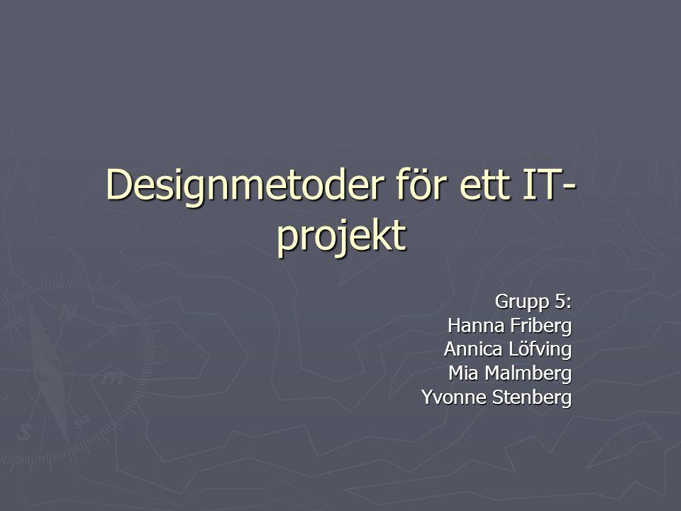 Designmetoder för ett IT- projekt Grupp 5: Hanna Friberg Annica Löfving Mia Malmberg Yvonne Stenberg