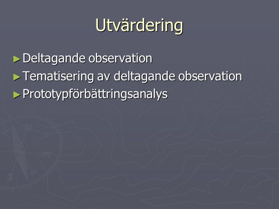Utvärdering ► Deltagande observation ► Tematisering av deltagande observation ► Prototypförbättringsanalys