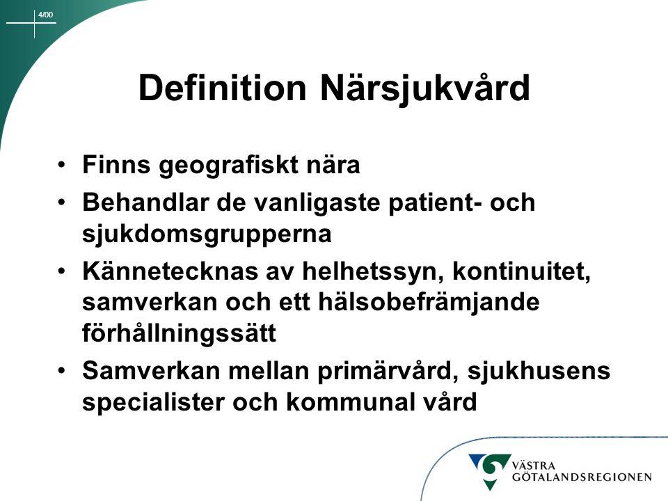 4/00 Definition Närsjukvård Finns geografiskt nära Behandlar de vanligaste patient- och sjukdomsgrupperna Kännetecknas av helhetssyn, kontinuitet, sam