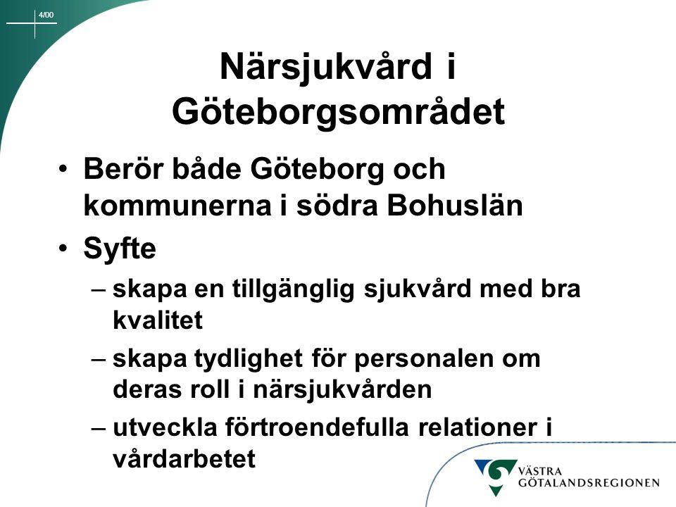 4/00 Närsjukvård i Göteborgsområdet Berör flera vårdgivare – sjukhus, primärvård, kommunala hälso- och sjukvården, privata vårdgivare Patienten ska inte märka organisatoriska gränser Vård runt patienten – inte patienten runt i vården