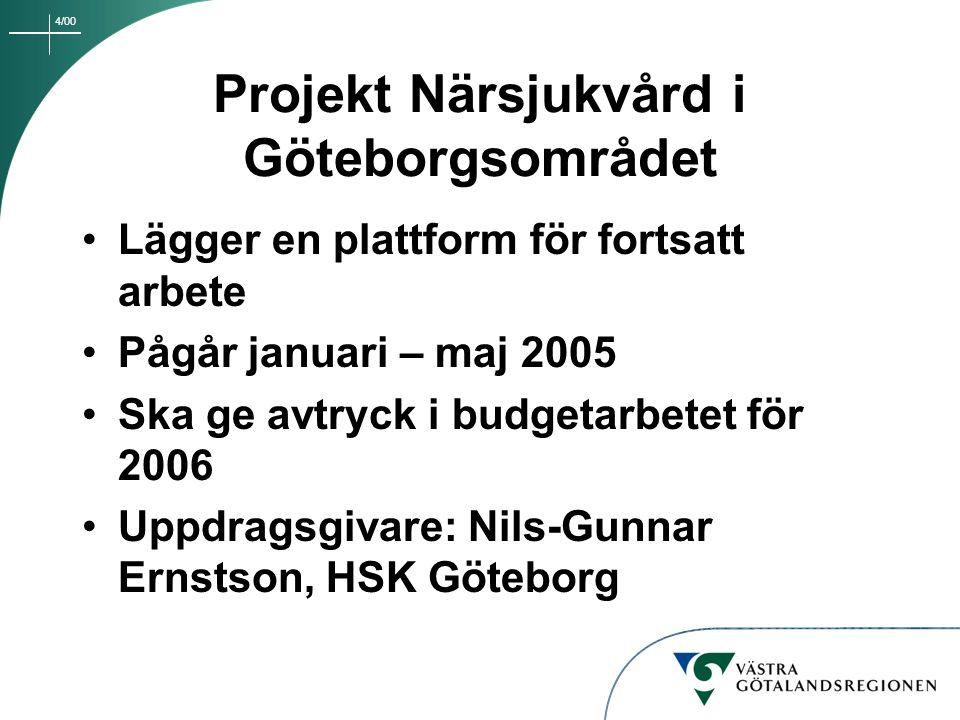 4/00 Projekt Närsjukvård i Göteborgsområdet Lägger en plattform för fortsatt arbete Pågår januari – maj 2005 Ska ge avtryck i budgetarbetet för 2006 U