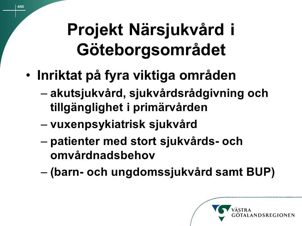 4/00 Projekt Närsjukvård i Göteborgsområdet Inriktat på fyra viktiga områden –akutsjukvård, sjukvårdsrådgivning och tillgänglighet i primärvården –vux