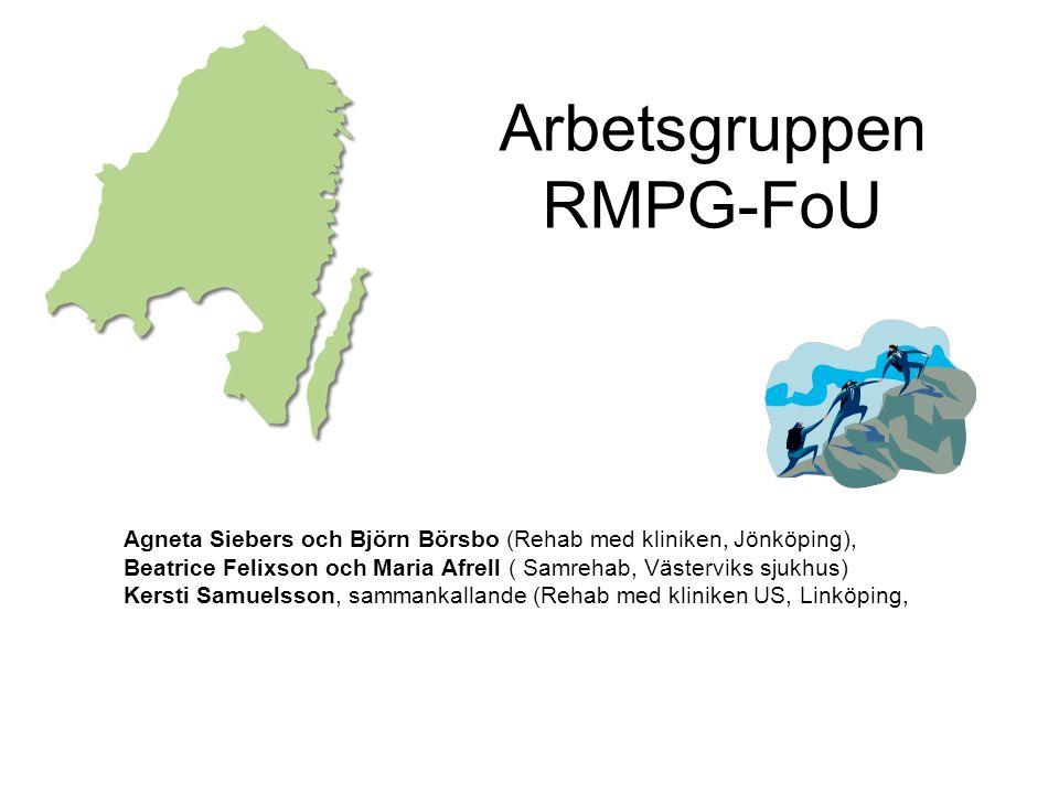 Arbetsgruppen RMPG-FoU Agneta Siebers och Björn Börsbo (Rehab med kliniken, Jönköping), Beatrice Felixson och Maria Afrell ( Samrehab, Västerviks sjuk
