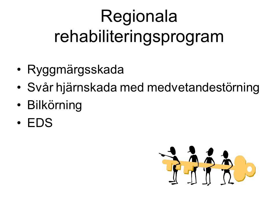 Regionala rehabiliteringsprogram Ryggmärgsskada Svår hjärnskada med medvetandestörning Bilkörning EDS