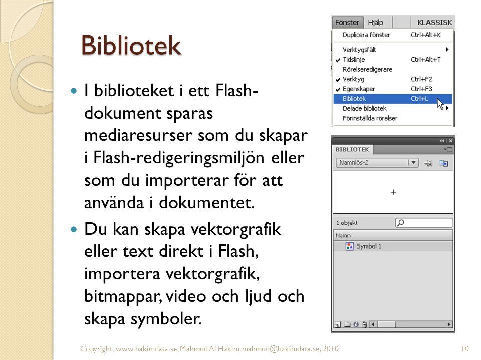 Bibliotek I biblioteket i ett Flash- dokument sparas mediaresurser som du skapar i Flash-redigeringsmiljön eller som du importerar för att använda i d