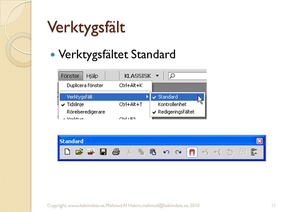 Verktygsfält Verktygsfältet Standard Copyright, www.hakimdata.se, Mahmud Al Hakim, mahmud@hakimdata.se, 201011