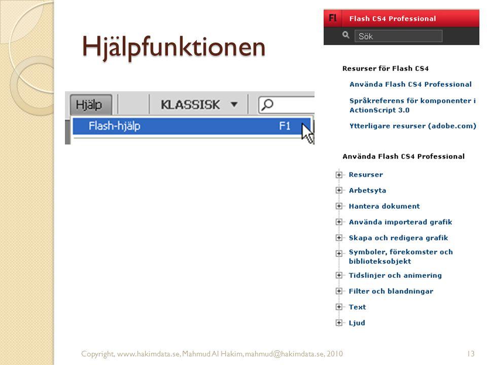 Hjälpfunktionen Copyright, www.hakimdata.se, Mahmud Al Hakim, mahmud@hakimdata.se, 201013