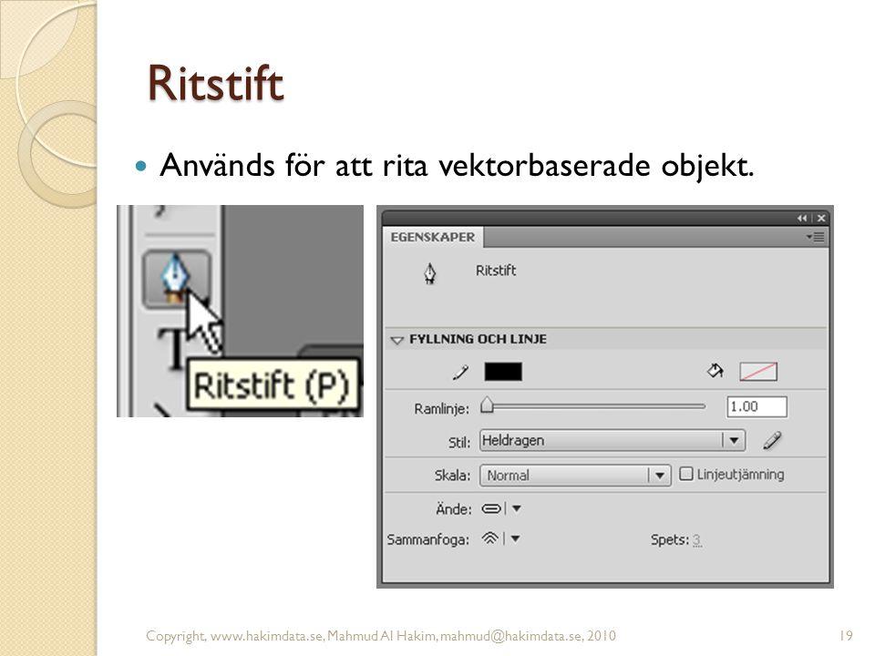 Ritstift Används för att rita vektorbaserade objekt. Copyright, www.hakimdata.se, Mahmud Al Hakim, mahmud@hakimdata.se, 201019