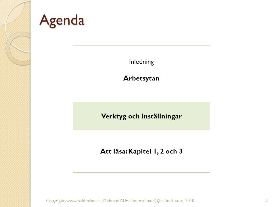 Agenda Inledning Arbetsytan Verktyg och inställningar Att läsa: Kapitel 1, 2 och 3 2Copyright, www.hakimdata.se, Mahmud Al Hakim, mahmud@hakimdata.se,