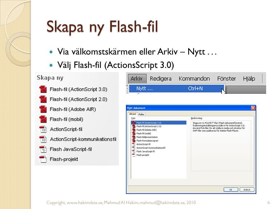 Skapa ny Flash-fil Via välkomstskärmen eller Arkiv – Nytt... Välj Flash-fil (ActionsScript 3.0) Copyright, www.hakimdata.se, Mahmud Al Hakim, mahmud@h