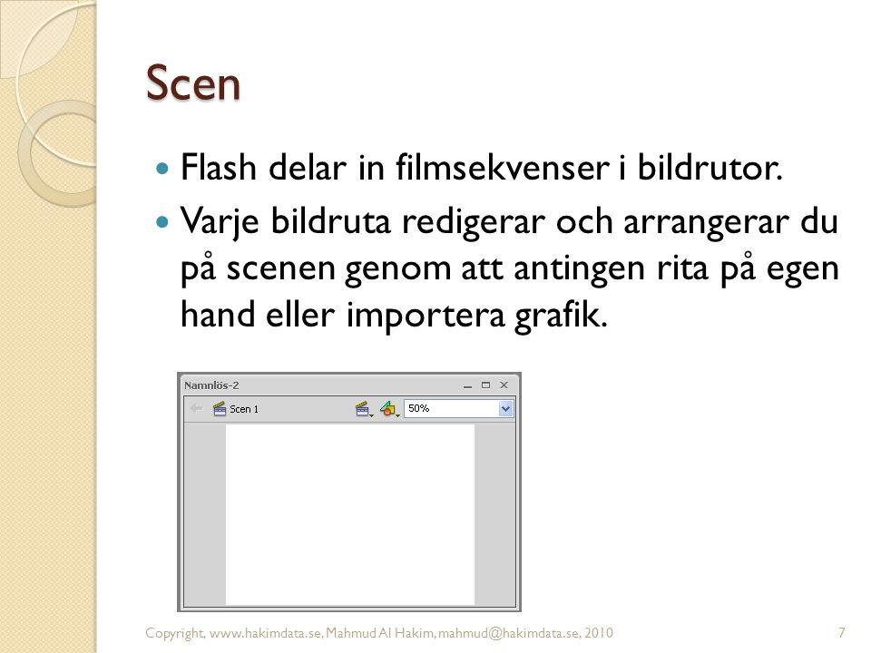 Scen Flash delar in filmsekvenser i bildrutor. Varje bildruta redigerar och arrangerar du på scenen genom att antingen rita på egen hand eller importe