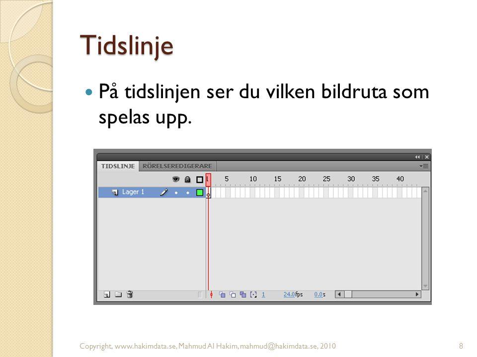 Tidslinje På tidslinjen ser du vilken bildruta som spelas upp. Copyright, www.hakimdata.se, Mahmud Al Hakim, mahmud@hakimdata.se, 20108