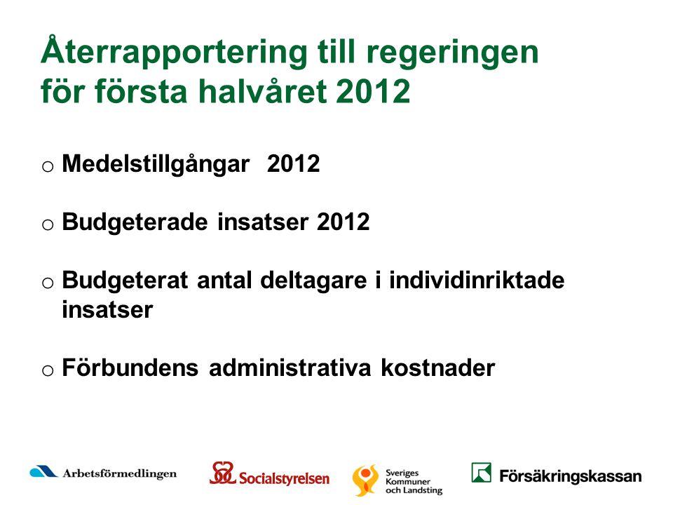 o Medelstillgångar 2012 o Budgeterade insatser 2012 o Budgeterat antal deltagare i individinriktade insatser o Förbundens administrativa kostnader Återrapportering till regeringen för första halvåret 2012