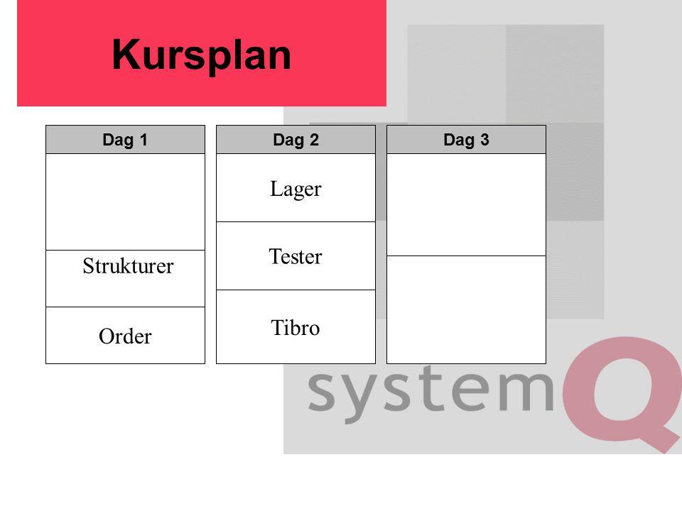 Kursplan Dag 1Dag 2Dag 3 Strukturer Order Tester Lager Tibro