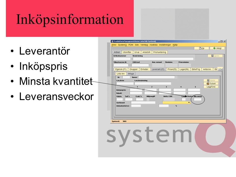Inköpsinformation Leverantör Inköpspris Minsta kvantitet Leveransveckor