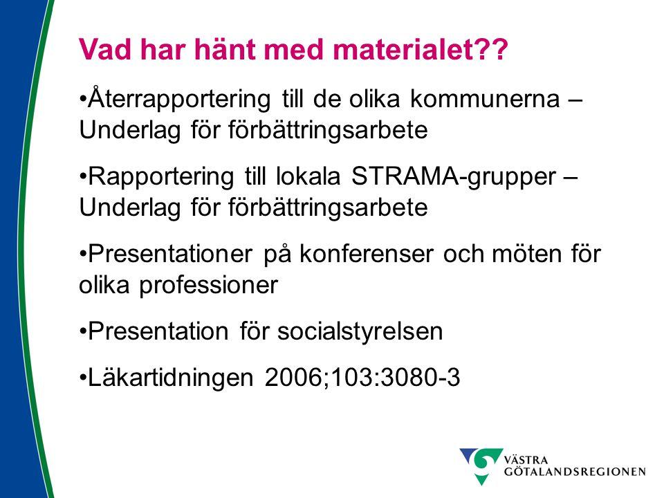 Vad har hänt med materialet?? Återrapportering till de olika kommunerna – Underlag för förbättringsarbete Rapportering till lokala STRAMA-grupper – Un