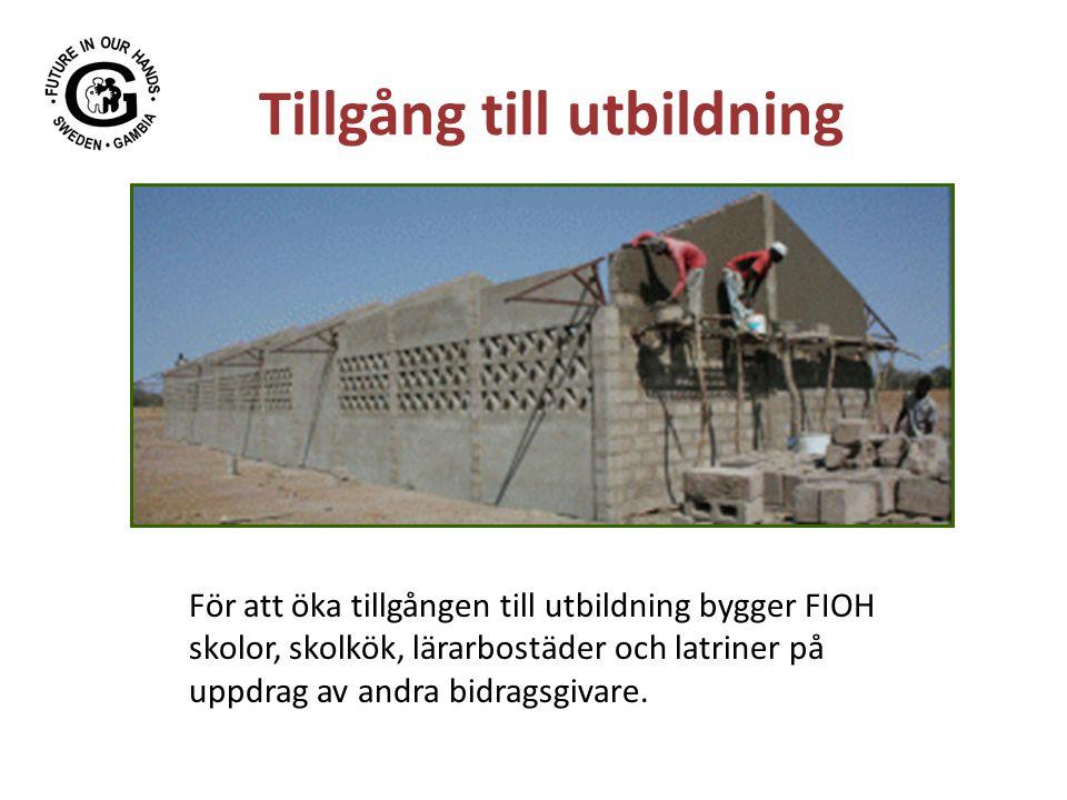 Tillgång till utbildning För att öka tillgången till utbildning bygger FIOH skolor, skolkök, lärarbostäder och latriner på uppdrag av andra bidragsgivare.