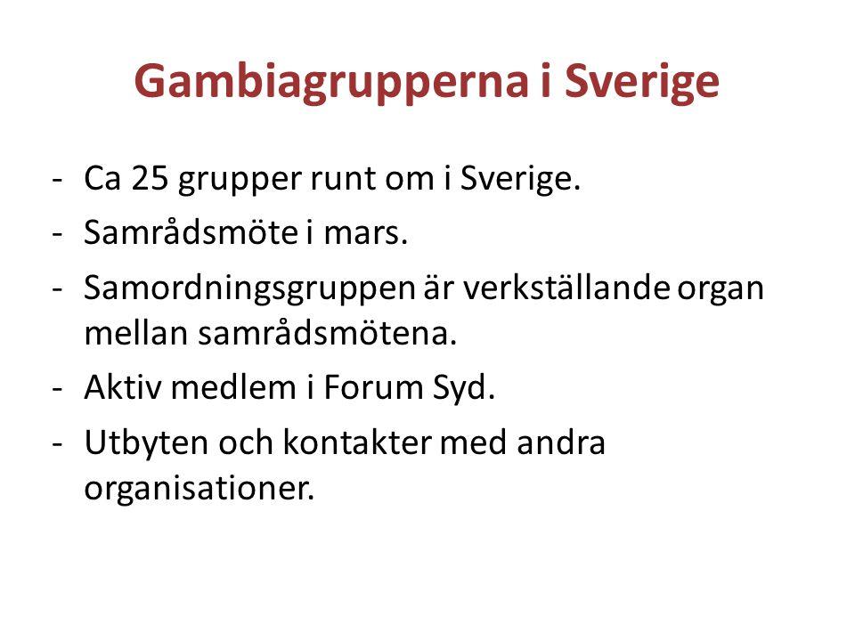 Gambiagrupperna i Sverige -Ca 25 grupper runt om i Sverige. -Samrådsmöte i mars. -Samordningsgruppen är verkställande organ mellan samrådsmötena. -Akt