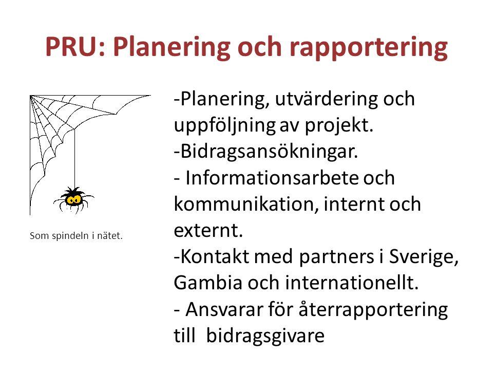 PRU: Planering och rapportering -Planering, utvärdering och uppföljning av projekt. -Bidragsansökningar. - Informationsarbete och kommunikation, inter