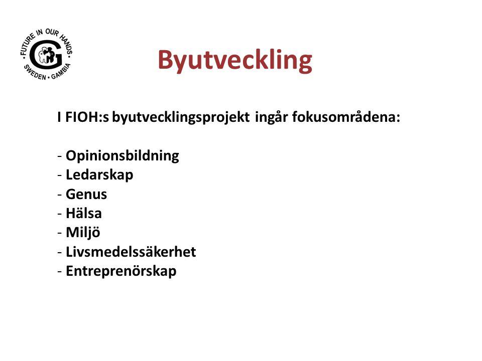 Byutveckling I FIOH:s byutvecklingsprojekt ingår fokusområdena: - Opinionsbildning - Ledarskap - Genus - Hälsa - Miljö - Livsmedelssäkerhet - Entreprenörskap