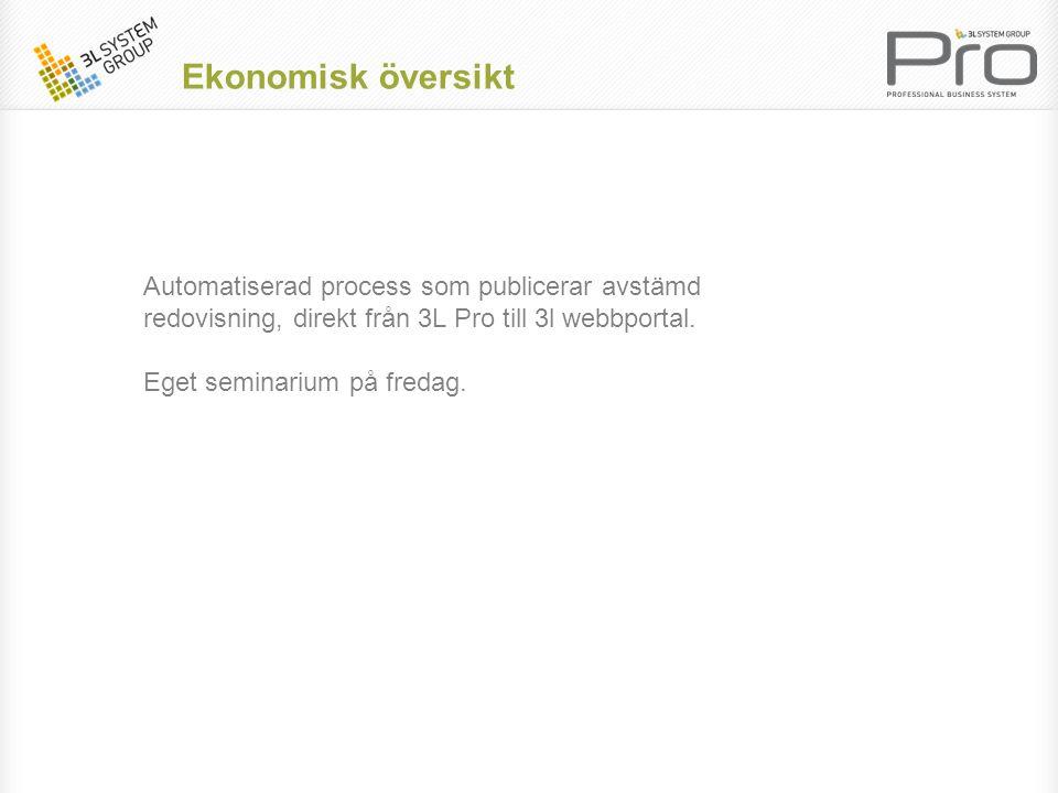 Ekonomisk översikt Automatiserad process som publicerar avstämd redovisning, direkt från 3L Pro till 3l webbportal.